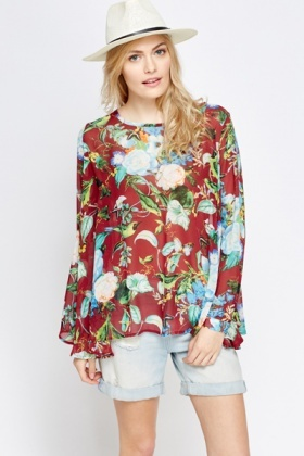 Floral Shirred Swing Top