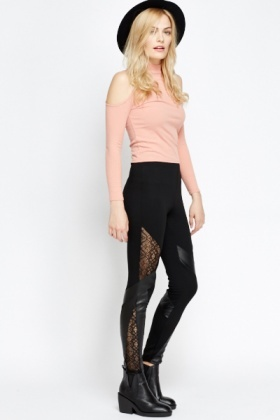 Lace Insert Contrast Black Leggings