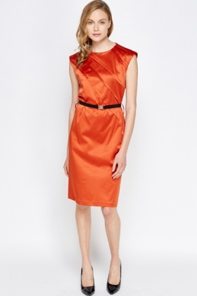 Belted Shift Midi Dress