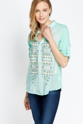 Embroidered Front Top