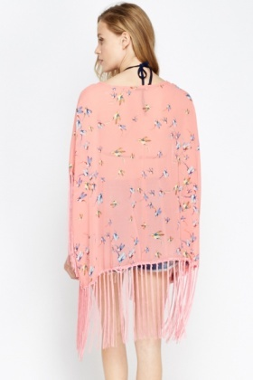 Tassel Hem Bird Print Beach Cover Up