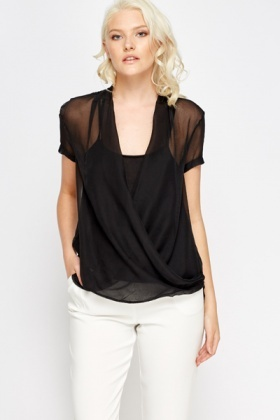 Wrap Sheer Black Blouse