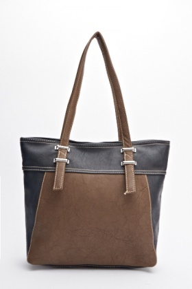Contrast Panel Faux Leather Handbag