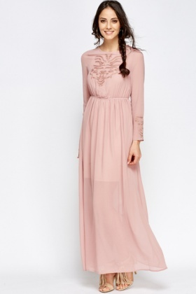 Embroidered Sheer Overlay Maxi Dress