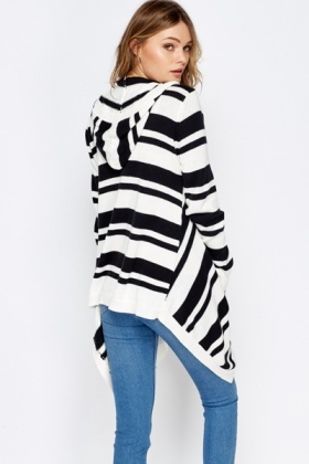Asymmetric Stripped Hooded Cardigan