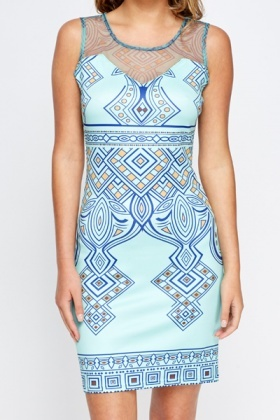 Aztec Print Mesh Yoke Dress