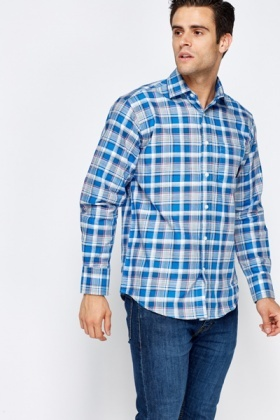 Blue Multi Grid Check Shirt