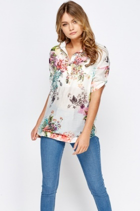 Collared Multi Floral Top