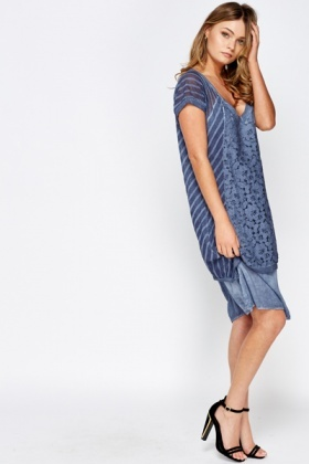 Deep V Overlay Dress