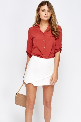 Silk Feel Brick Blouse