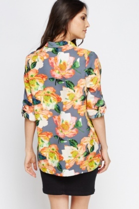 Grey Floral Dip Hem Top