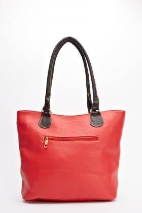 Two Tone Belted Tote Bag