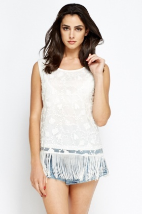 Embroidered Front Tassel Top
