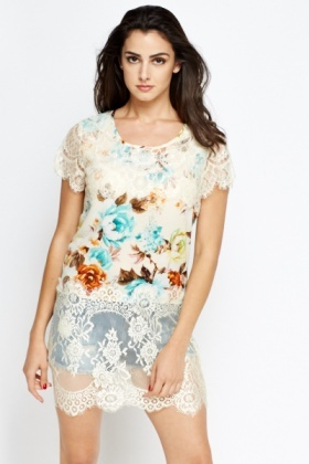 Long Floral Lace Detail Top