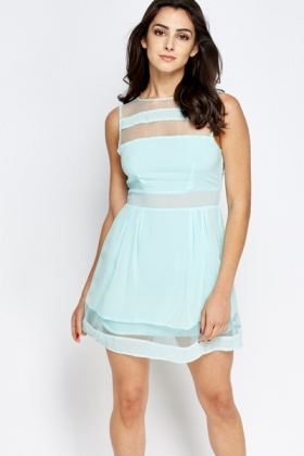 Mesh Insert Mini Skater Dress