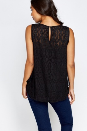 Encrusted Neck Mesh Back Top