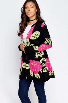 Floral A-Line Zip Up Cardigan