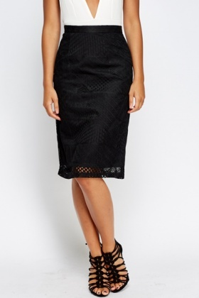 Lace Overlay Black Pencil Skirt