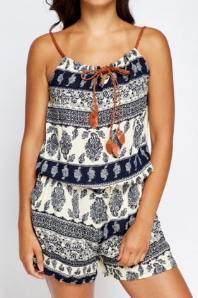 Paisley Printed Playsuit