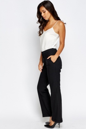 Pinstriped Black Trousers