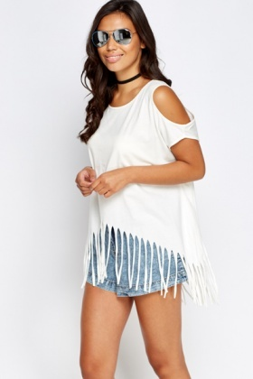 Printed Back Tassel Cold Shoulder Top
