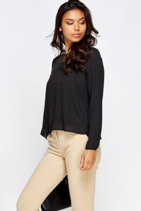 Black Silky Long Sleeve Blouse
