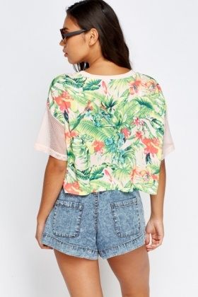 Contrast Sleeve Palm Tree Print T-Shirt