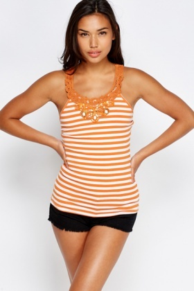 Crochet Back Embroidery Top