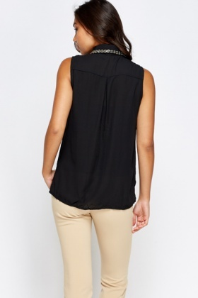 Encrusted Collar Black Blouse