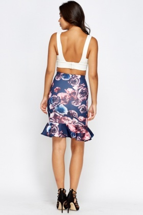 Frilled Hem Navy Floral Skirt
