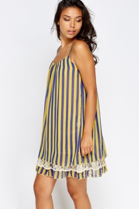 Lace Hem Striped Shift Dress