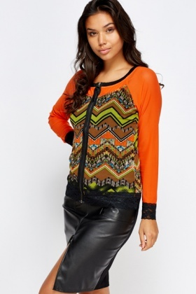 Mesh Insert Zip Front Sheered Top