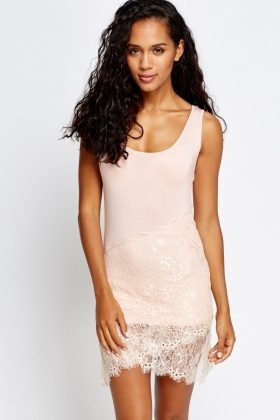 Contrast Lace Overlay Dress