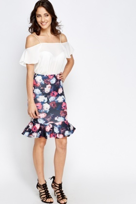 Fish Tail Floral Skirt
