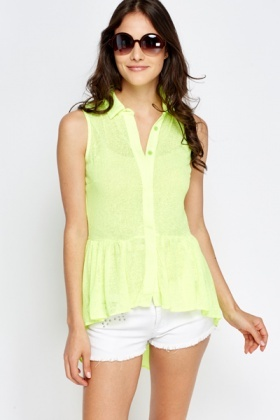Flared Hem Button Up Top