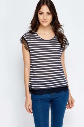 Lace Trim Striped Top
