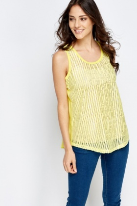 Mesh Metallic Front Top