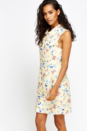 Butterfly Print Shirt Dress