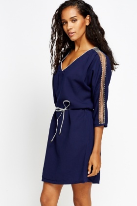 Chain Trim V-Neck Dress