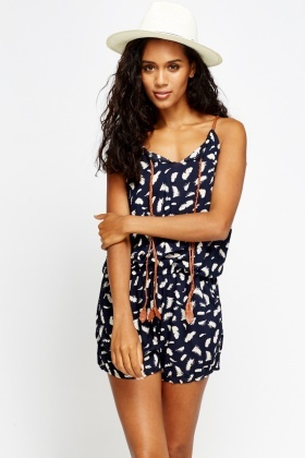 Feather Print Playsuit
