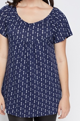 Navy Printed A-Line Top