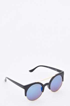 T Bar Mirrored Round Sunglasses