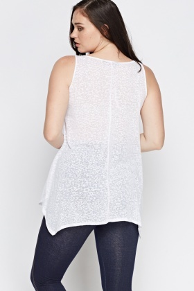 Asymmetric Burn Out Print Top