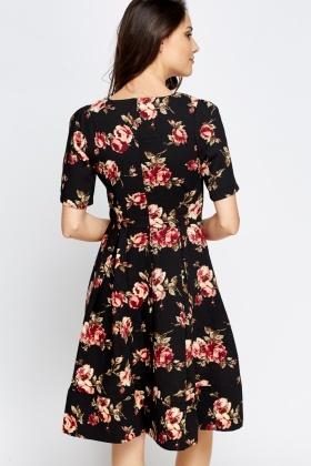 Black Floral Pleated Skater Dress - Just £5