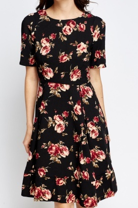Black Floral Pleated Skater Dress
