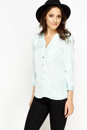 Button Front Silk Feel Blouse