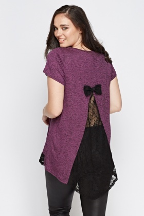 Lace Insert Bow Back Top
