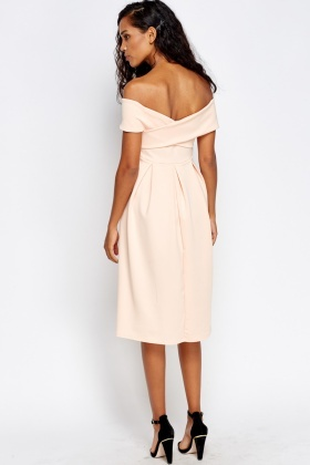 Pleated Bardot Midi Dress