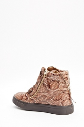 Brown Snake Effect Print High Tops