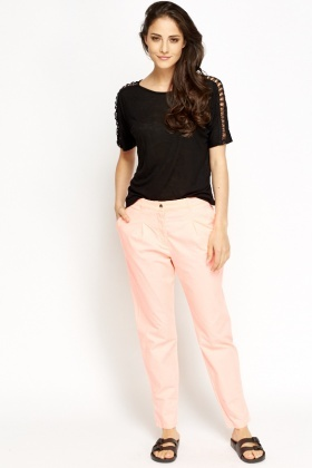 Cotton Blend Neon Pink Trousers